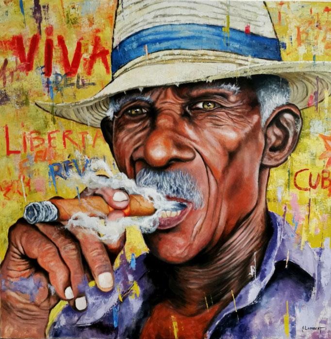 LE CUBAIN AU CHAPEAU DE PAILLE - 100 X 100 CM - HUILE SUR TOILE