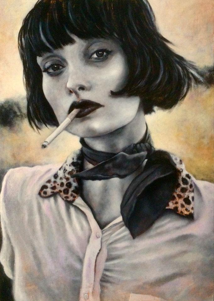La femme au foulard - Toile 65 X 92 cm - Acrylique