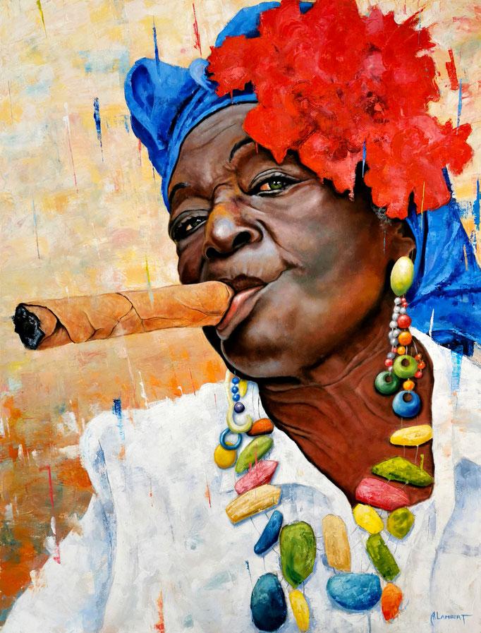 La cubaine au collier - 89 X 116 cm - Huile sur toile