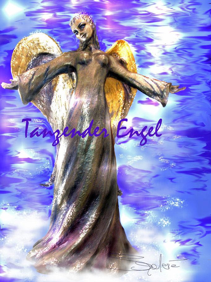 """""""Tanzender Engel"""" - Steinzeug, Lüstertechn. 12 kt.  Weißgold"""