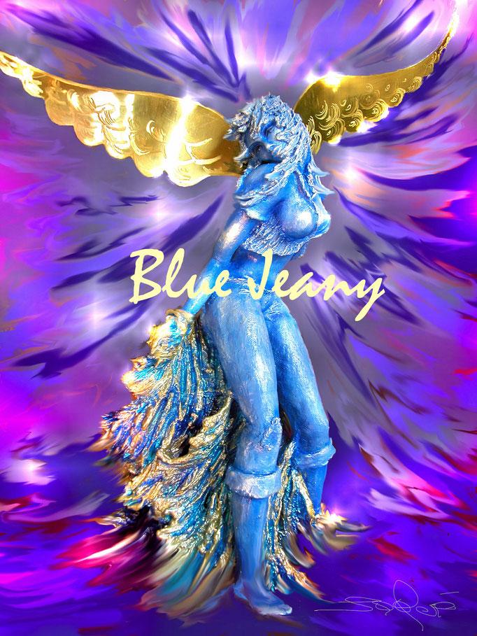 """""""Blue Jeany"""" - Steinzeug, Lüstertechn. Messing - 70 cm Gesamthöhe"""