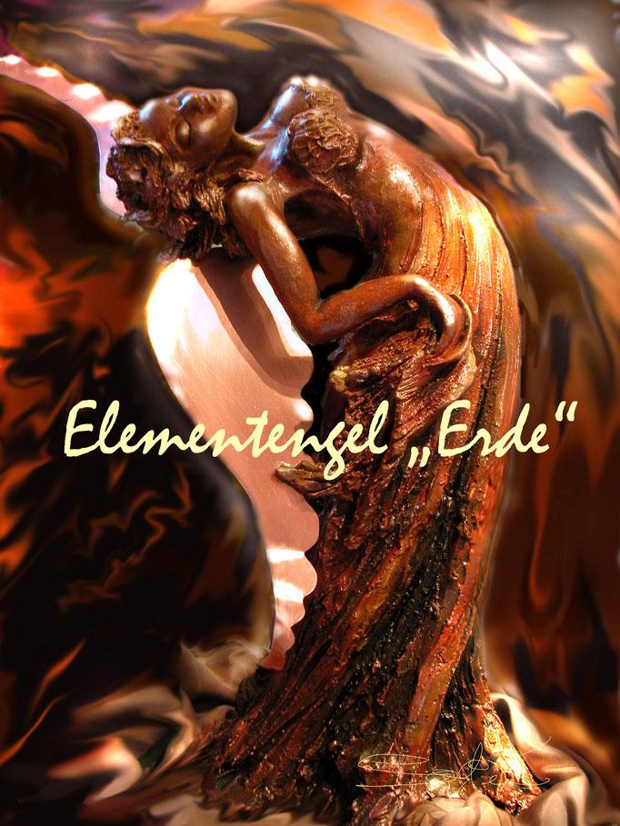 """Elementengel """"Erde"""" - Steinzeug, Lüstertechn. fl.Bronze, Kupfer - 85 cm Gesamthöhe"""