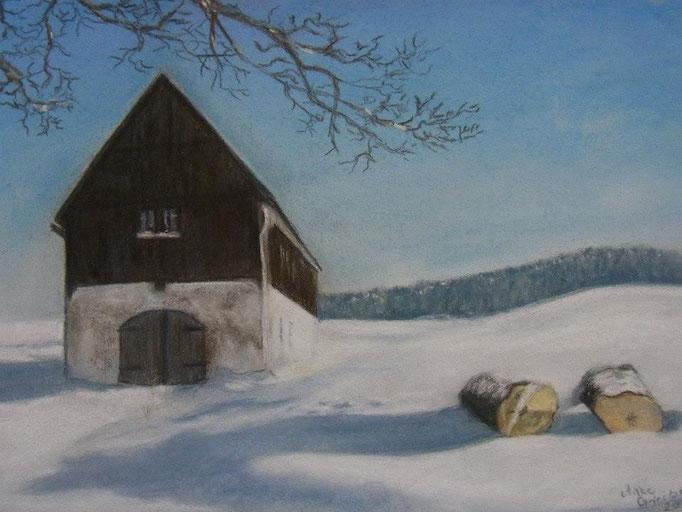 Letzte Brechstube im Winter, 2009, Pastell, 20*30 cm