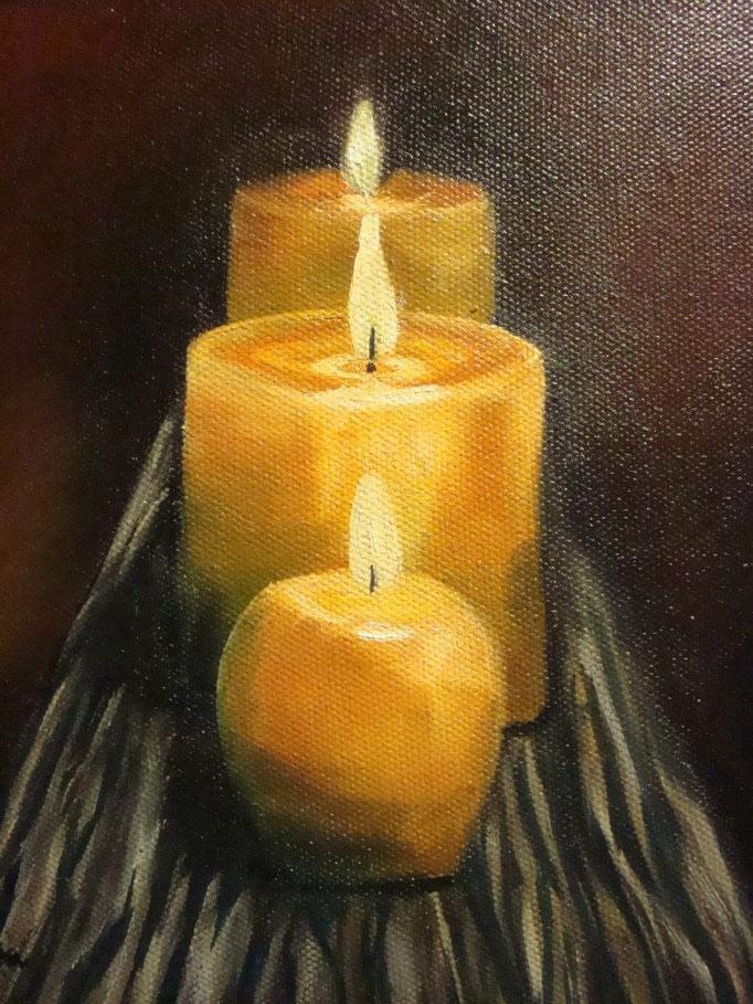 3 Kerzen, 2009, Öl auf Leinwand, 20*20 cm, Preis 80 € ohne Rahmung