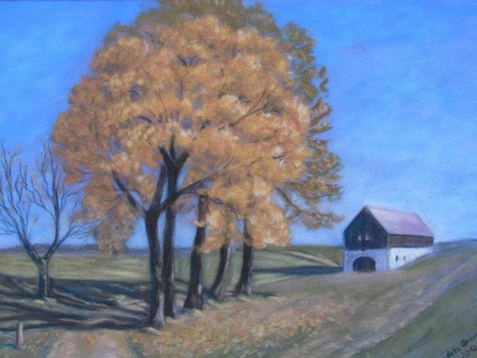 Letzte Brechstube im Herbst, 2012, Pastell auf Velour, 24*32 cm