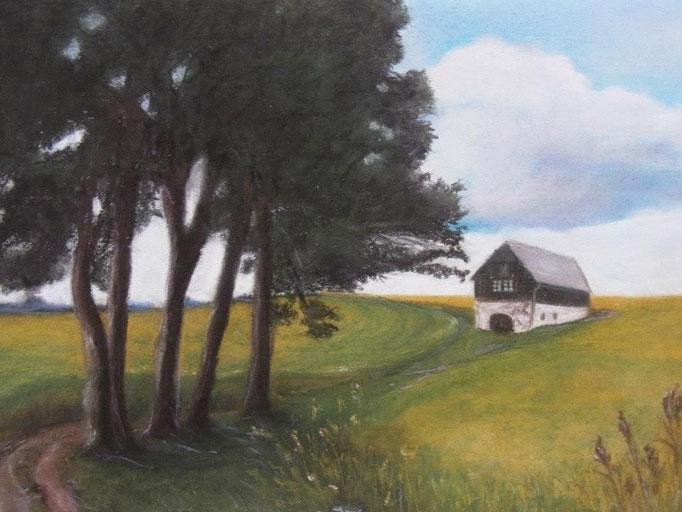 Letzte Brechstube im Sommer, 2008, Pastell, 30*40 cm