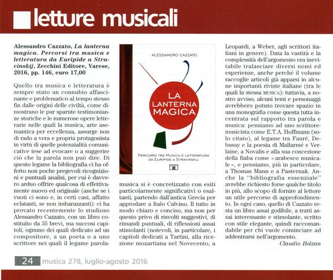 """Recensione su Rivista """"Musica"""", 2016"""