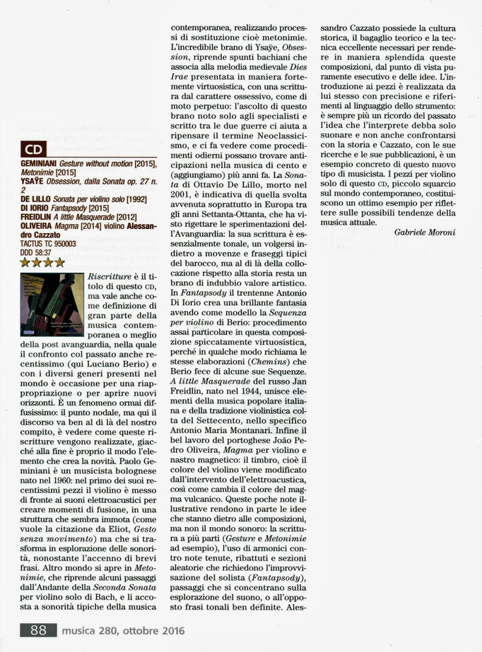 """Review of my CD on """"Musica"""" 2017"""