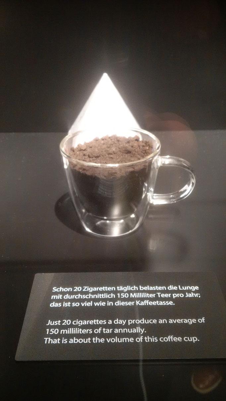 20 Kippen täglich - 365 Tage - eine Tasse voll Teer, das die Poren verstopft und den Menschen