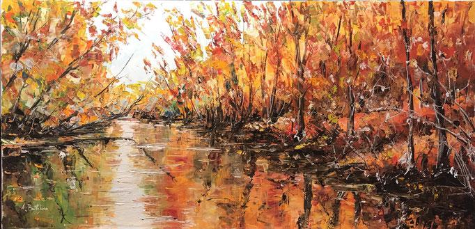 riflessi d'autunno 40 x 80 olio su tela spatolato