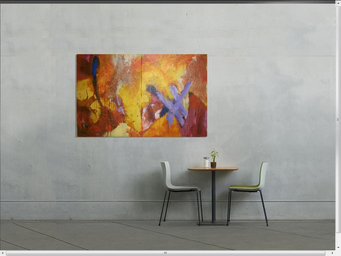 VERKAUFT  - Abstract Painting 3/5-2015 two pieces -  Acrylics on canvas 128 x64 x 4 cm