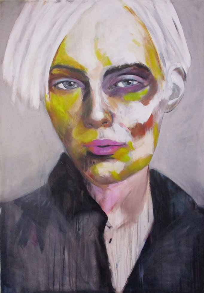 unknown model - black eye 120517  Acrylics on canvas 160 x 110 x 4 cm