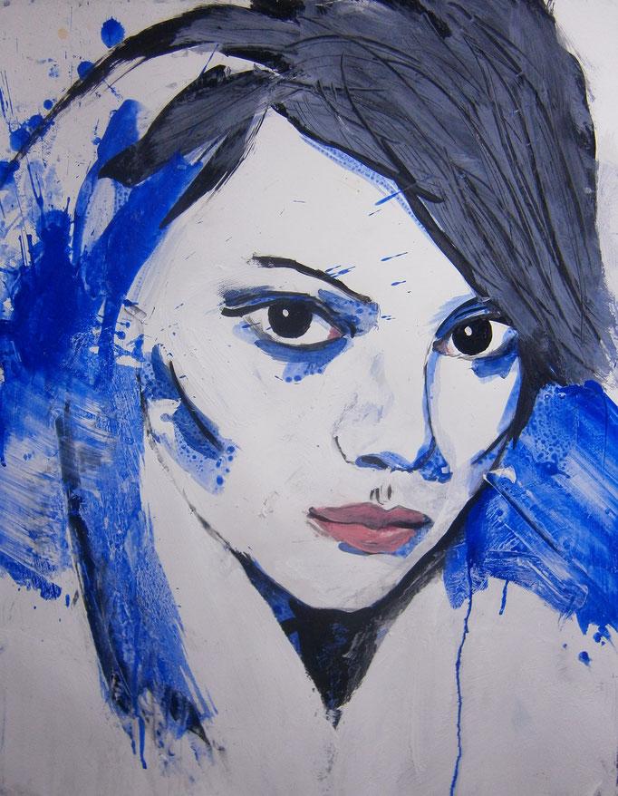 Sold -- Mademoiselle de France # 42 - acrylics on paper Größe : 65 x 50 cm