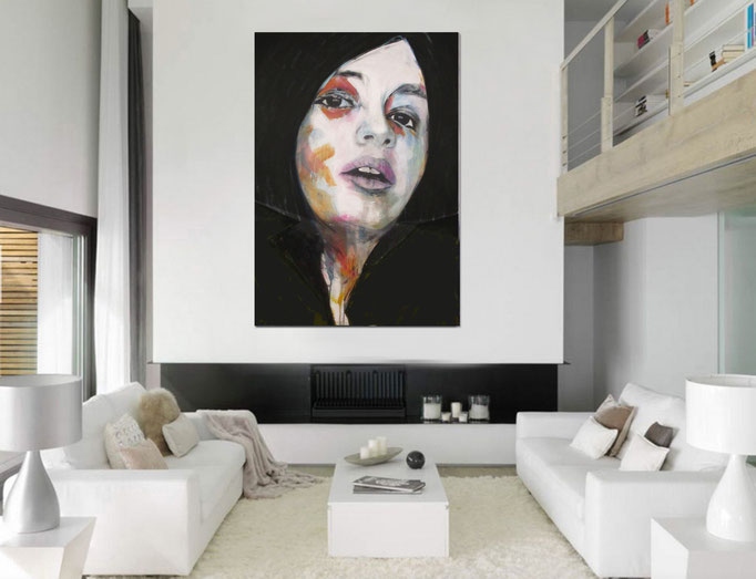 Portrait - unknown model - 160517  Acrylics on canvas 160 × 110 × 4 cm