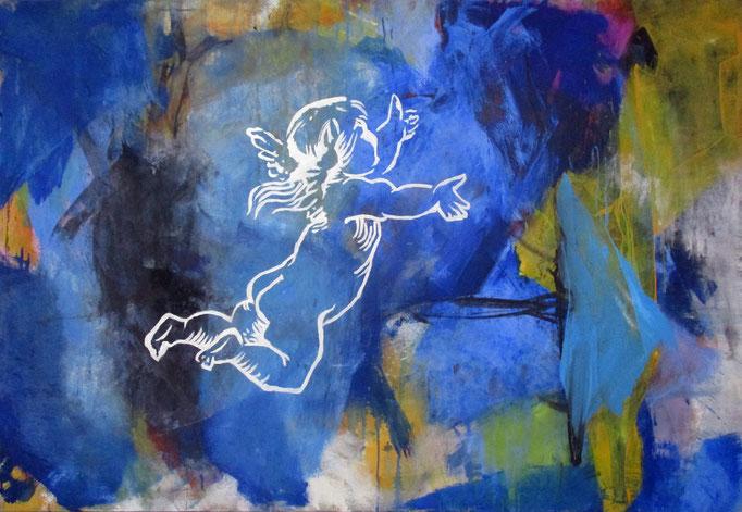 """ Eros got lost "" Acrylics on canvas 160 x 110 x 4 cm"