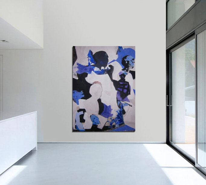 VERKAUFT  - Abstract Painting 8/12-2015 -  Acrylics on canvas 160 x 110 x 4 cm