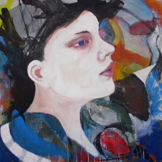 Portrait study - The Painter - Acrylics on canvas 100 × 100 × 4 cm