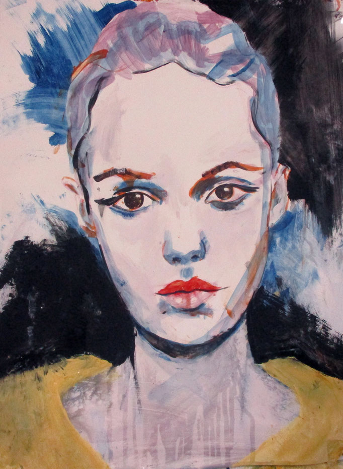 Mademoiselle de France # 46 - acrylics on paper Größe : 65 x 50 cm   > SOLD <