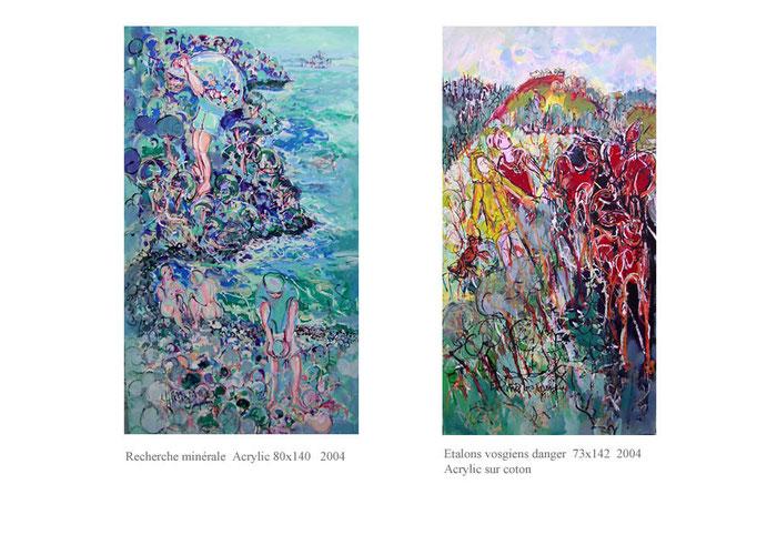 Chercheur Acrylic sur toile 80 x 140  et étalons 1800€ et 1700€