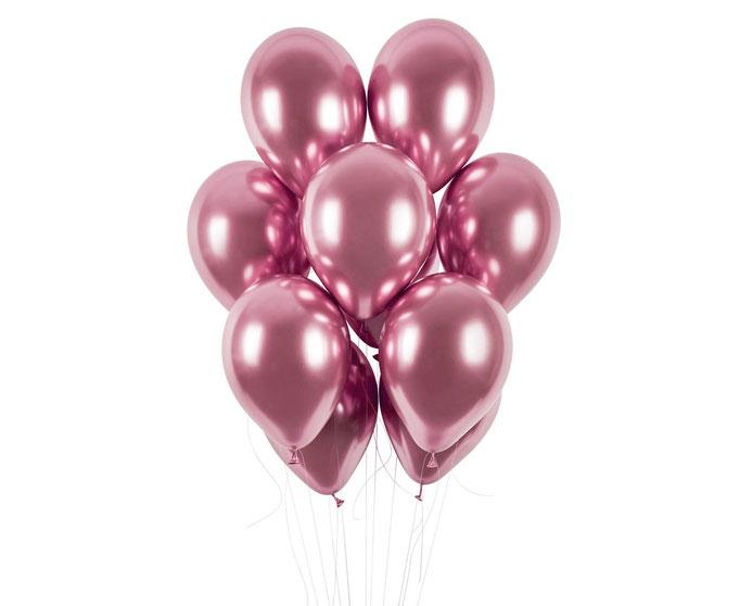balon chromowy shiny różowe