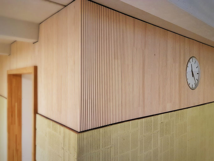 Detailaufnahme des Schulhausflur im Obergeschoss.