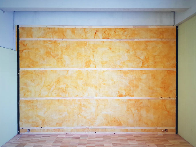 Die Montage der Unterkonstruktion in einem der 6 Musikzimmer.