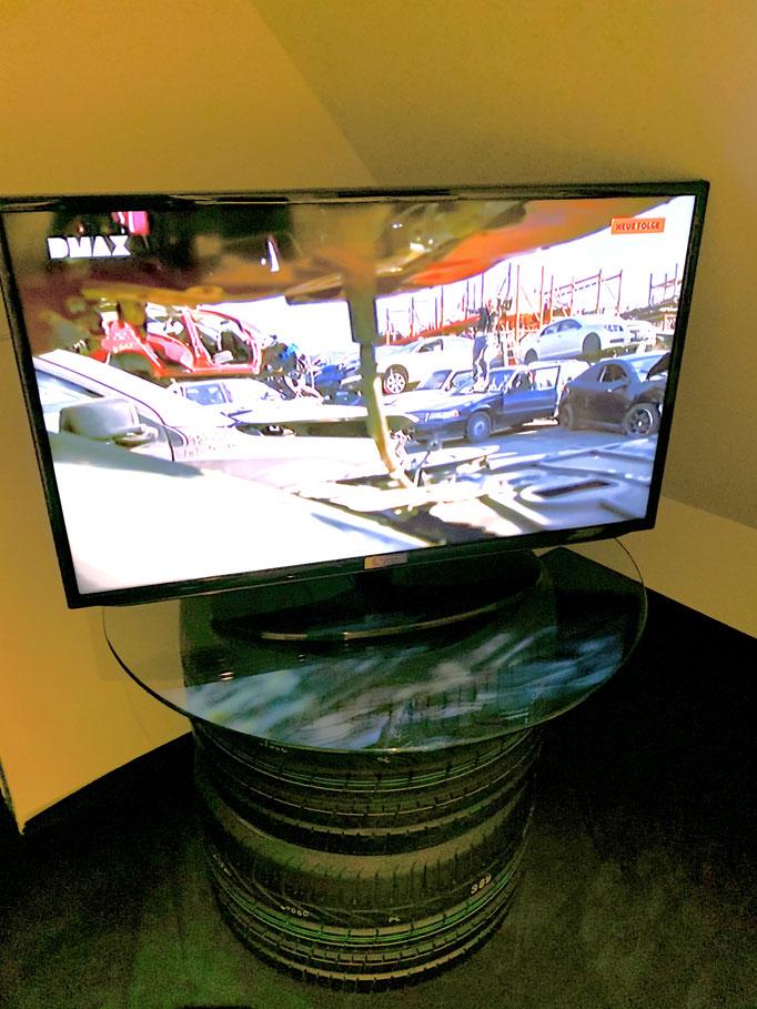 Renndeko Reifen Tisch Platte Glas