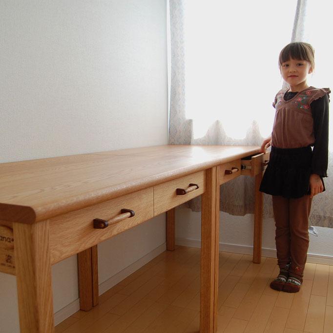 ナラのシンプル学習机(川崎市・C様邸)