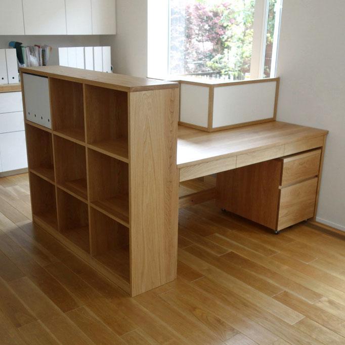 対面式の学習机とオープンシェルフ(川崎市・M様邸)