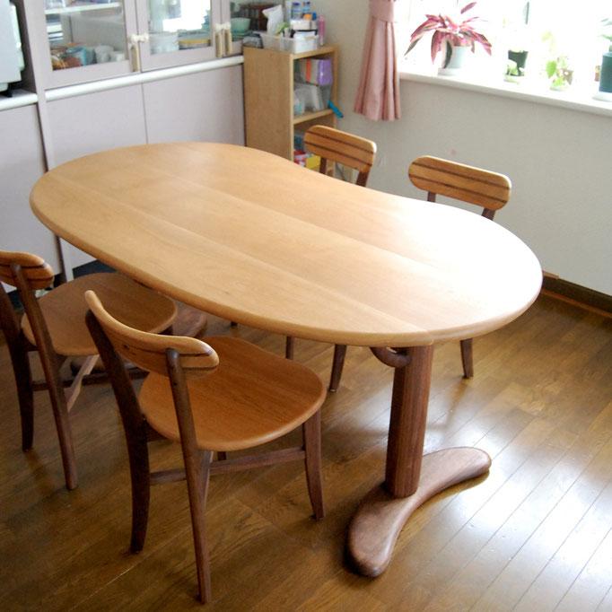 そら豆ダイニングテーブルセット(さいたま市・I様邸)