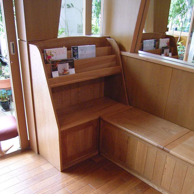 ナラの収納ベンチ&ブックシェルフ(横浜市・G様邸)