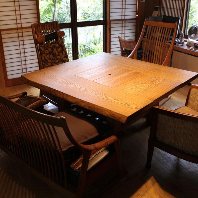 タモの囲炉裏テーブル(愛川町・Y様邸)