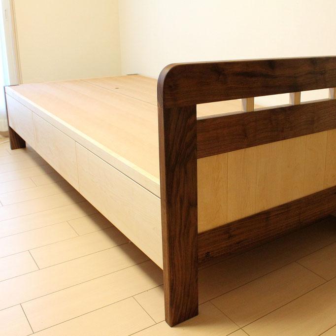 パンダカラーの収納付きベッド(藤沢市・K様邸)