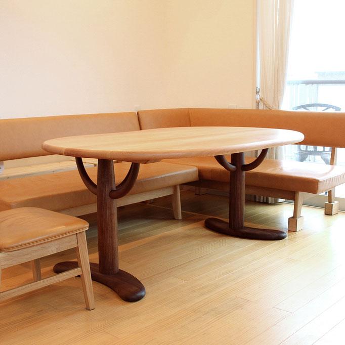 高さを抑えたそら豆ダイニングテーブル(神栖市・T様邸)
