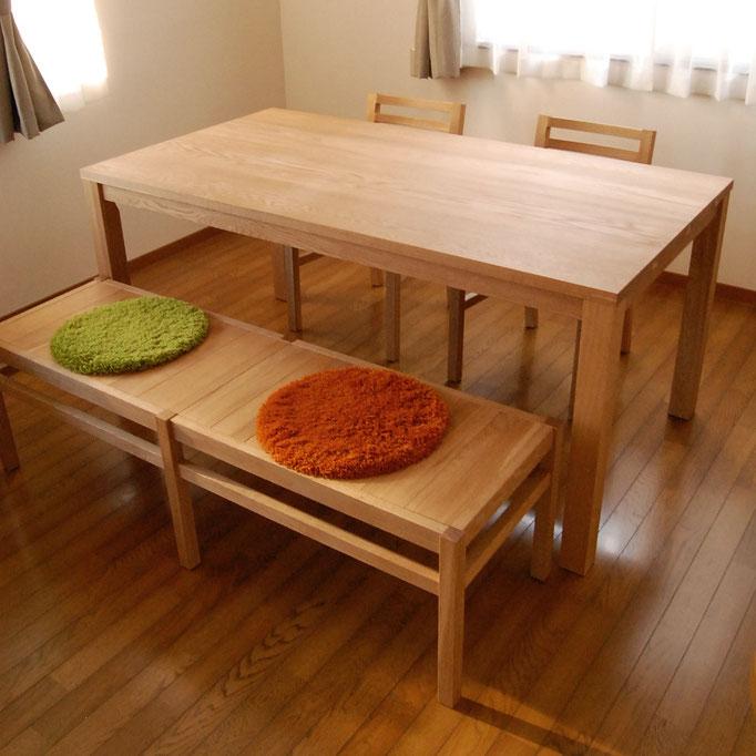 ナラのシンプルダイニングテーブルセット(小田原市・K様邸)