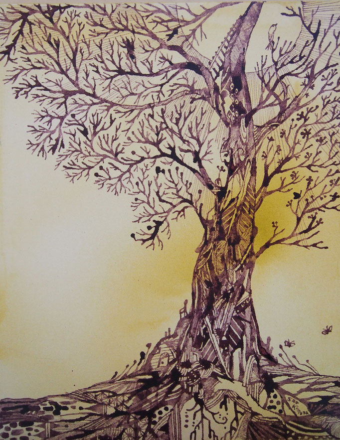 """'Tree'   11x14"""" Ink on painted canvas"""