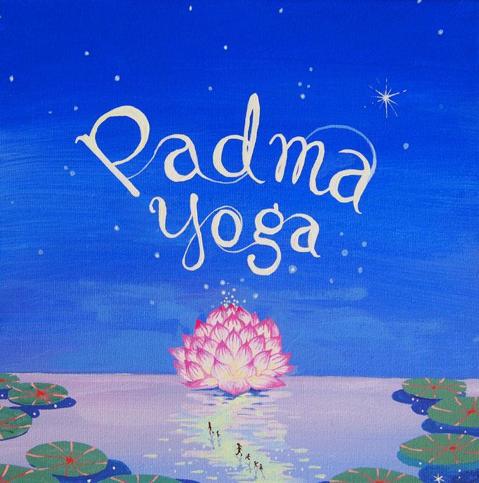 "'Padma Yoga' 13x13"" Acrylic on canvas"
