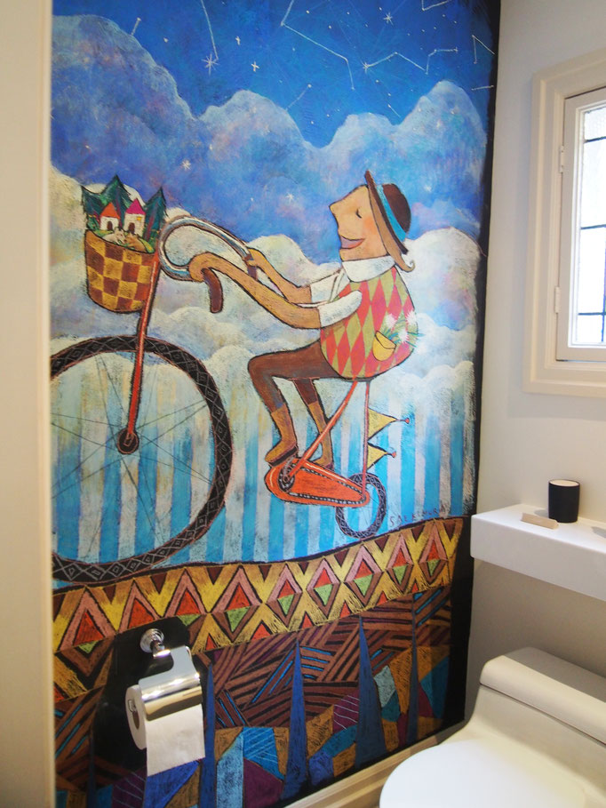 'Singing on bike' Bathroom wall, pastel on chalkboard painted wall