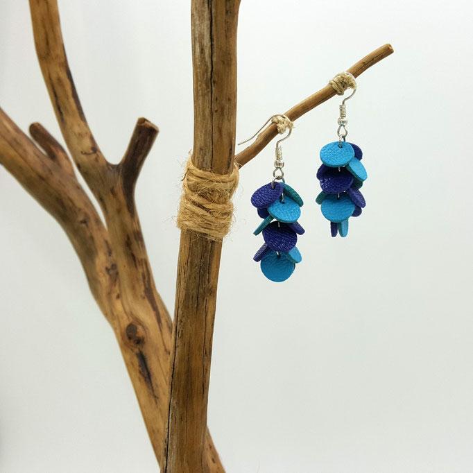 Création artisanale atelier passions indigo boucles d'oreilles CONFETTIS  cuir