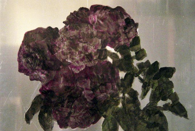 """aroseisnota"", 2008, 80x54cm, Alu geschliffen, Transparentfarbe"