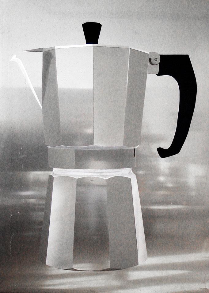 """Espressomachine"", 2007, 140x70x5cm, Aluminium geschliffen, Acrylfarbe"