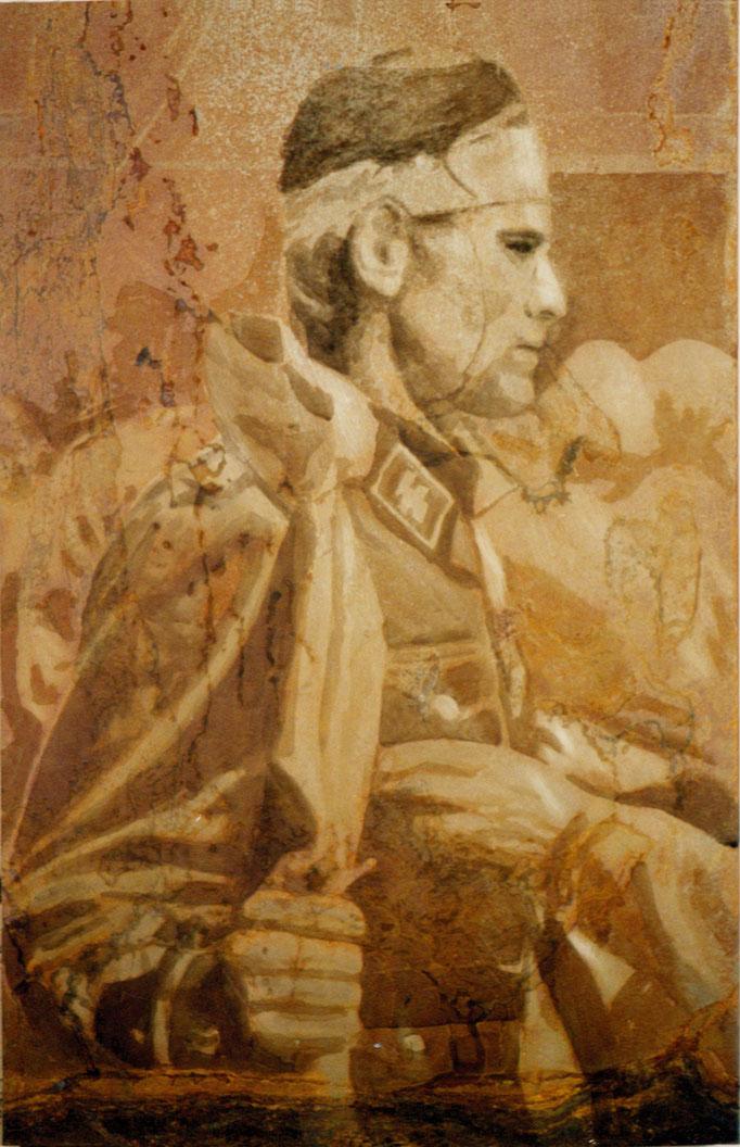 """Heiliger Vater"", 2002, 58x92cm, Stahlblech geschliffen, Transparentfarbe, Rost"