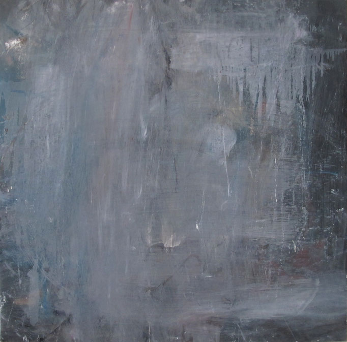 """o.T."", 100x100cm, Ölfarbe, Lack, Transparentfarbe auf Stahlblech, 2011"