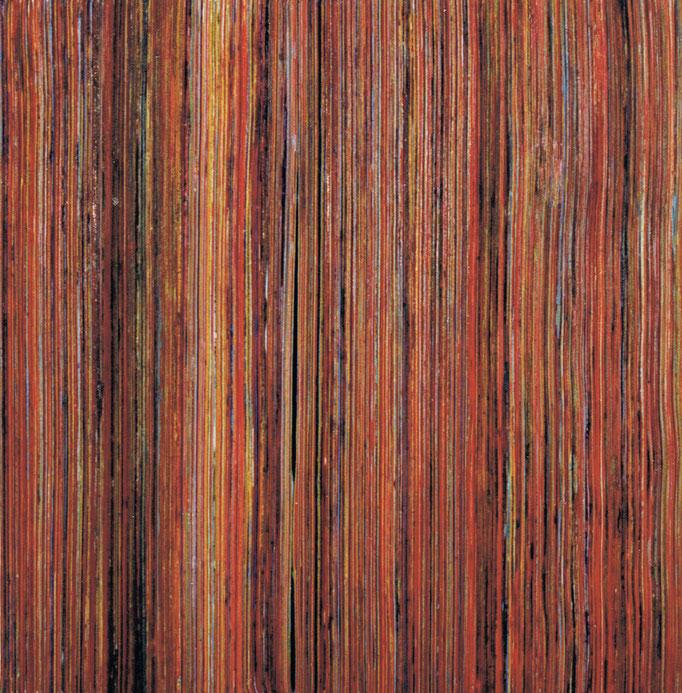"""""""dieendendermalerei"""", Papierstreifen, Acrylfarbe, 28x28x2cm, 1992"""
