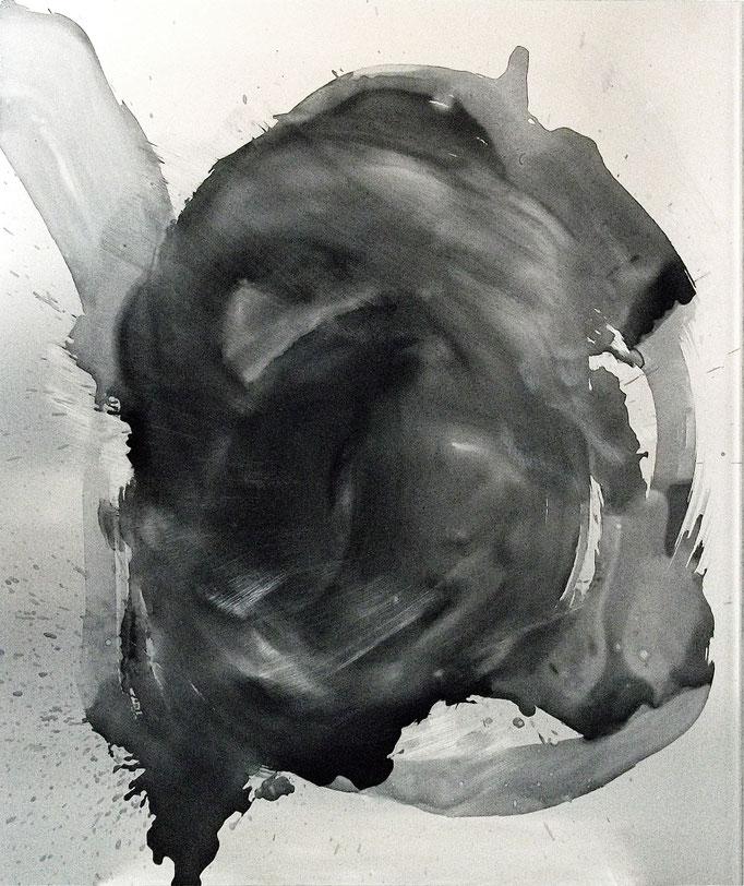 """""""o.T."""", 50x70cm, Transparentlack auf Alu, Metallschliff, 2013"""