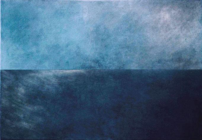 """horizont_blau#28"", 140x100x5cm, Aluminium geschliffen, Transparentfarbe, 2008"