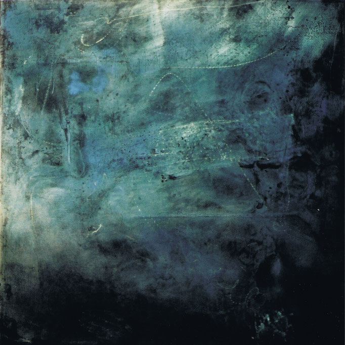 """""""o.T."""", 100x100cm, Transparentfarbe, Stahl geschliffen, 1997"""