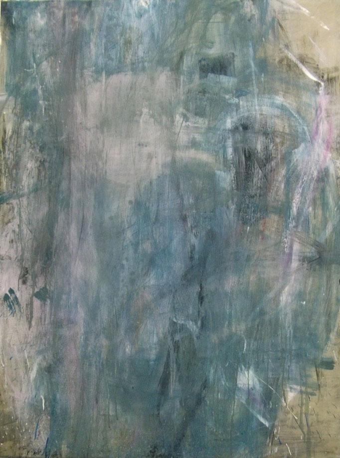 """o.T."", 92x125cm, Ölfarbe, Lack, Transparentfarbe auf Stahlblech, 2011"