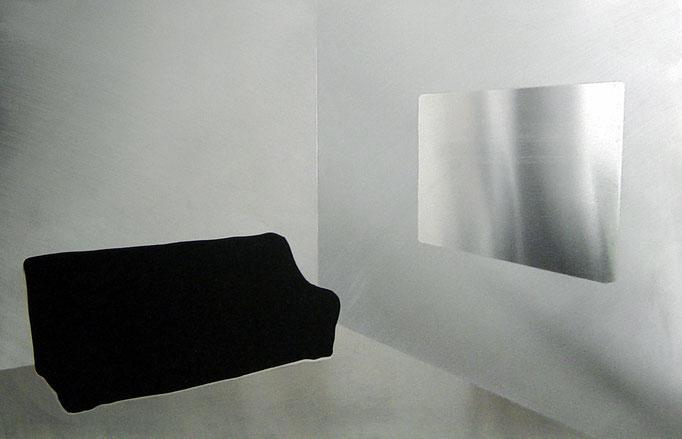"""o.T"", 2007, 70x50cm, Aluminium geschliffen, Transparentfarbe"