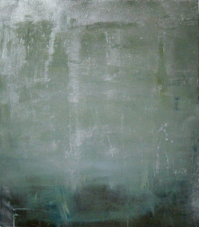 """o.T."", 125x155cm, Öl, Lack auf Stahl, 2011"